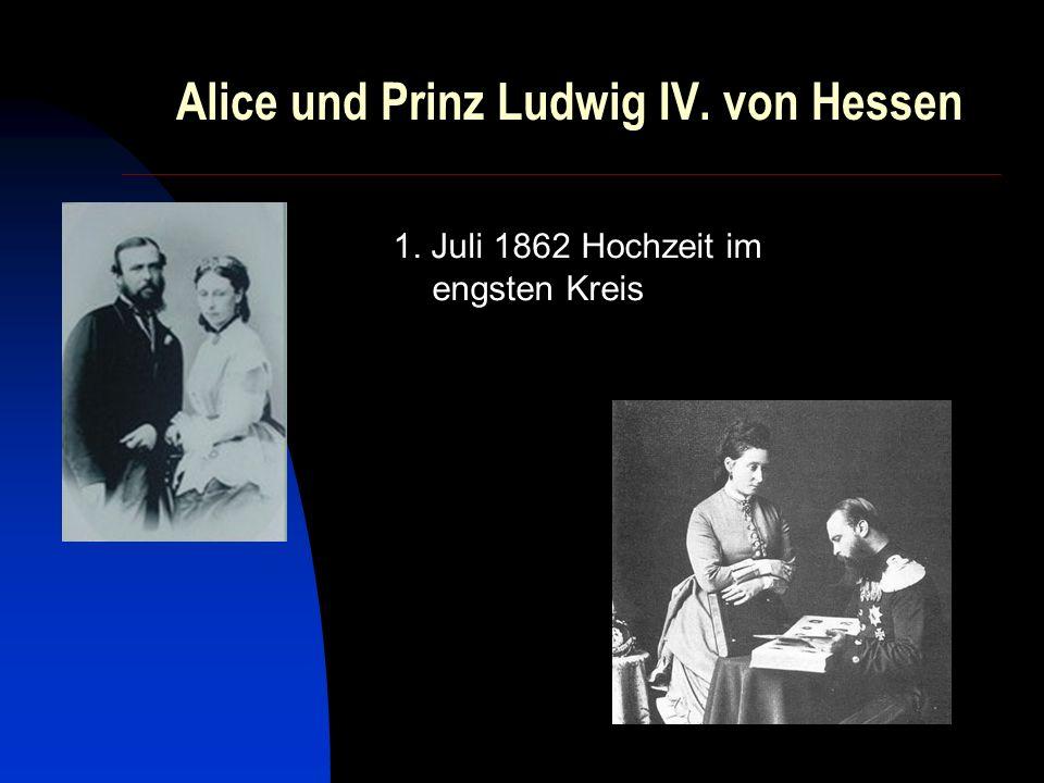 Die Kinder von Alice und Ludwig Viktoria (1863-1950) Elisabeth (1864-1918) Irene (1866-1953) Ernst Ludwig (1868-1937) Friedrich Wilhelm (1870-1873, Tod durch Sturz aus einem Fenster) Alix (1872-1918, heiratete den russischen Zaren Nikolaus II.) Maria (1874-1878, starb an Diphtherie)