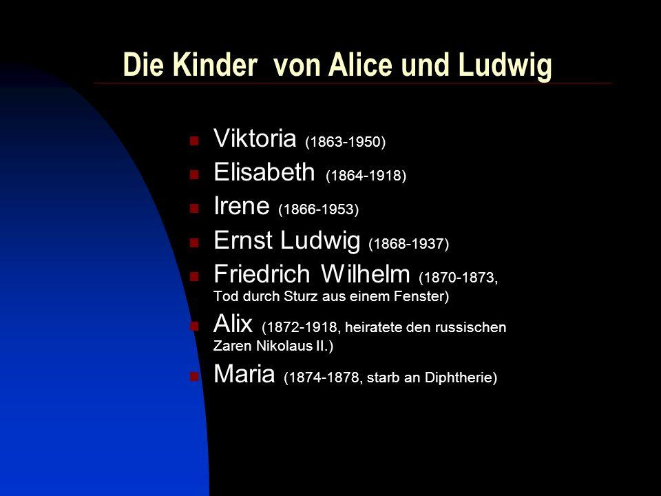 Leben und Wirken von Alice Mit Alice kommt 1862 eine liberal denkende, sozial engagierte Großherzogin nach Darmstadt.