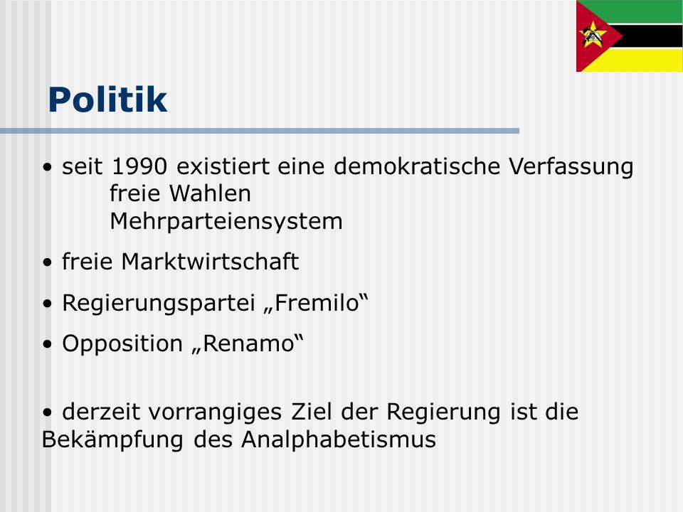 Politik seit 1990 existiert eine demokratische Verfassung freie Wahlen Mehrparteiensystem freie Marktwirtschaft Regierungspartei Fremilo Opposition Re