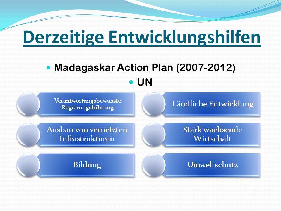Derzeitige Entwicklungshilfen Madagaskar Action Plan (2007-2012) UN Verantwortungsbewusste Regierungsführung Ausbau von vernetzten Infrastrukturen Bil