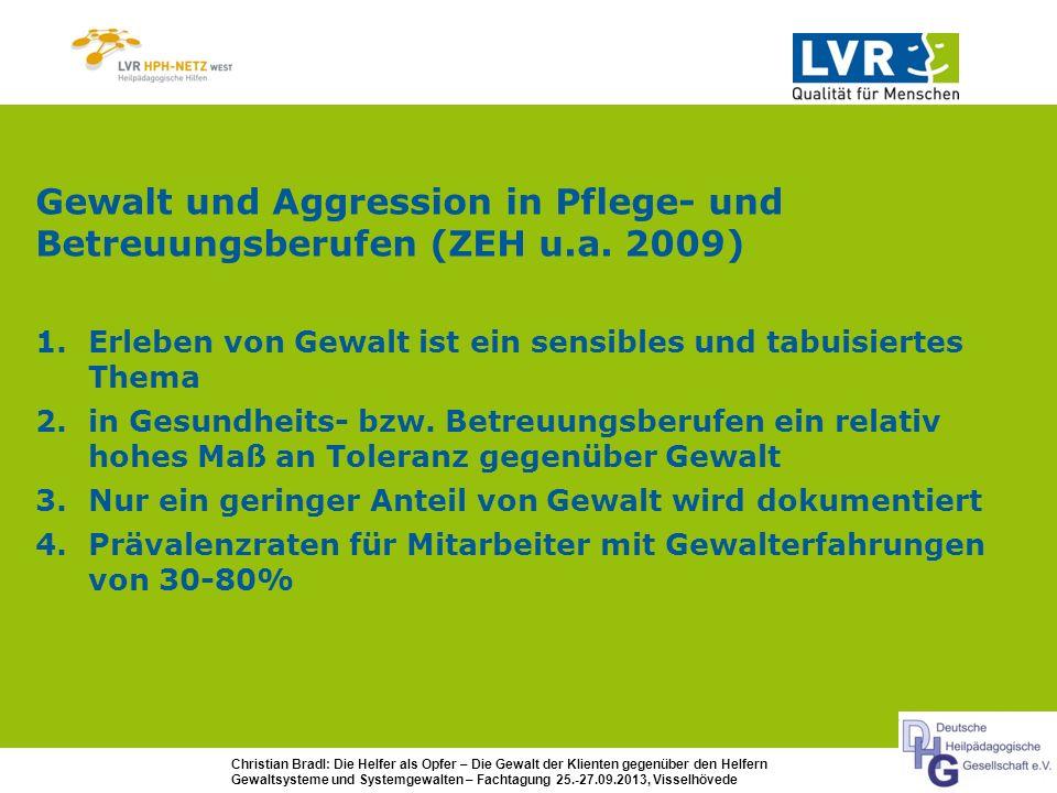 Christian Bradl: Die Helfer als Opfer – Die Gewalt der Klienten gegenüber den Helfern Gewaltsysteme und Systemgewalten – Fachtagung 25.-27.09.2013, Visselhövede Daten aus den LVR-HPH-Netzen - Arbeitsunfälle (Jahr 2011): von 54 Arbeitsunfällen der drei LVR-HPH-Netze: 19 (35%) Bewohner-Übergriffe - Mitarbeiterbefragung (2012): 51% der Mitarbeiter geben an, in den letzten 12 Monaten im eigenen Arbeitsbereich gewalttätige Situationen erlebt zu haben