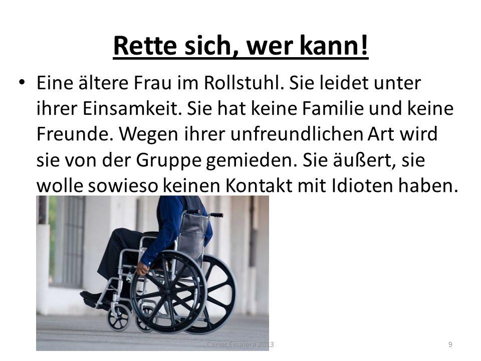 Rette sich, wer kann! Eine ältere Frau im Rollstuhl. Sie leidet unter ihrer Einsamkeit. Sie hat keine Familie und keine Freunde. Wegen ihrer unfreundl