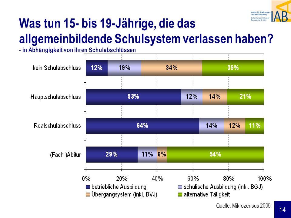 14 Quelle: Mikrozensus 2005 Was tun 15- bis 19-Jährige, die das allgemeinbildende Schulsystem verlassen haben? - in Abhängigkeit von ihren Schulabschl