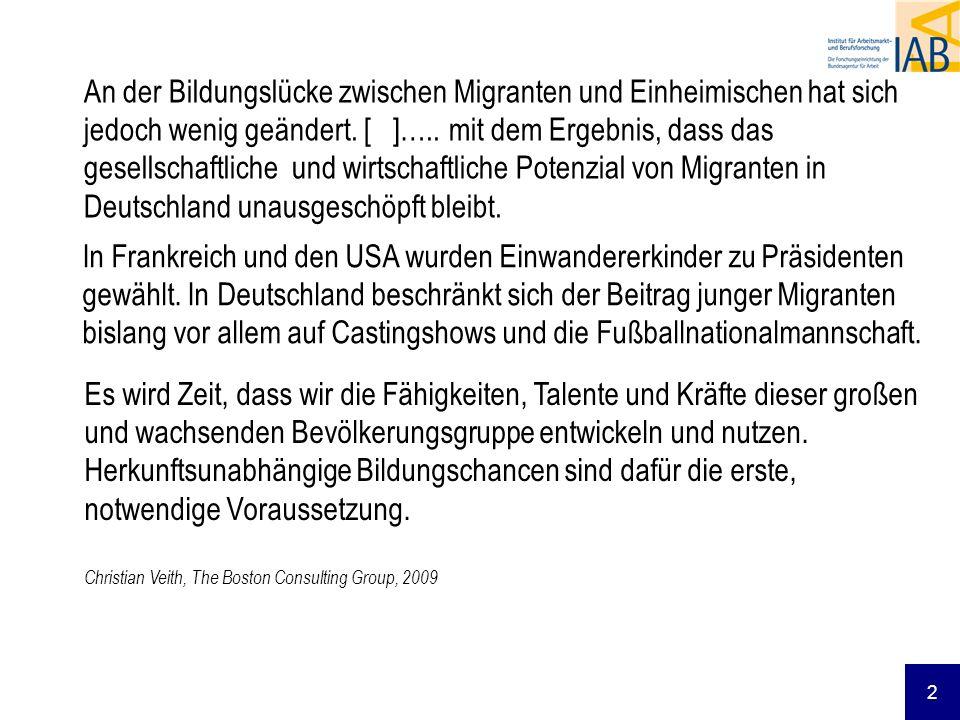 23 Gründe für die Chancenungleichheit Weitere arbeitsmarktrelevante Ressourcen fehlen Deutschkenntnisse Netzwerke (Informationen über offene Stellen) Soziale Herkunft Institutionelle Benachteiligung Die betriebliche Organisation führt zum Ausschluss von Migranten (z.B.