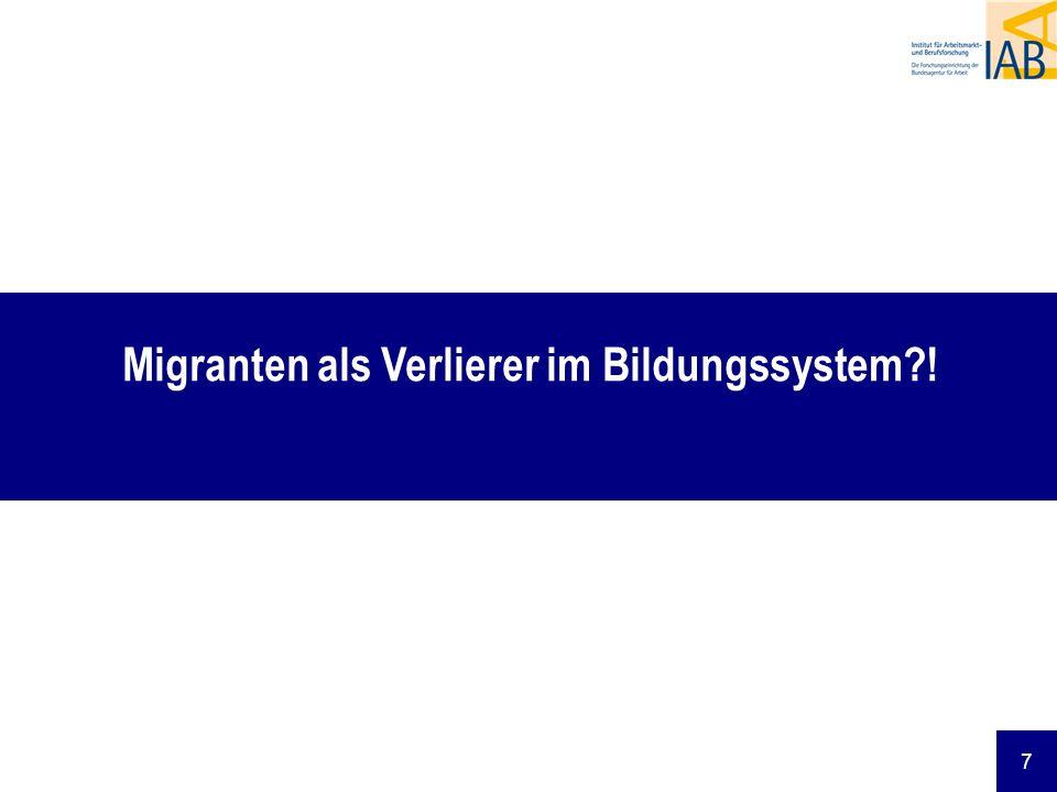 8 Kompetenzrückstand von 15-jährigen Schülerinnen und Schülern mit Migrationshintergrund gegenüber Gleichaltrigen, deren Eltern in Deutschland geboren sind Quelle: Bildungsbericht 2008, S.