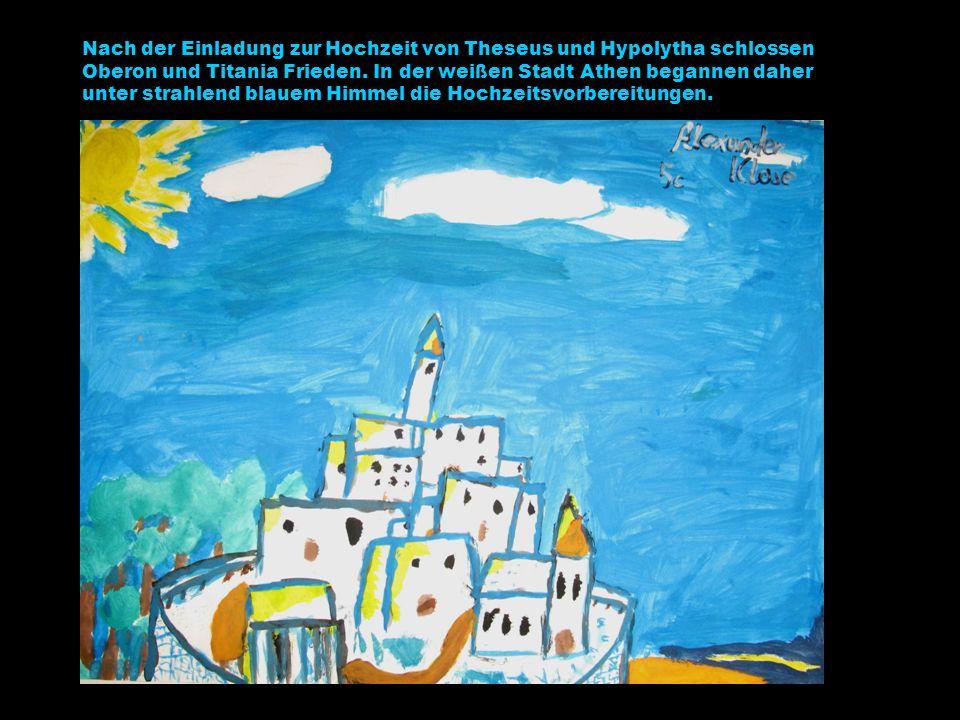 Nach der Einladung zur Hochzeit von Theseus und Hypolytha schlossen Oberon und Titania Frieden.