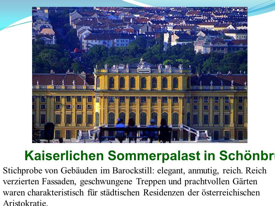 Kaiserlichen Sommerpalast in Schönbrunn Stichprobe von Gebäuden im Barockstill: elegant, anmutig, reich. Reich verzierten Fassaden, geschwungene Trepp