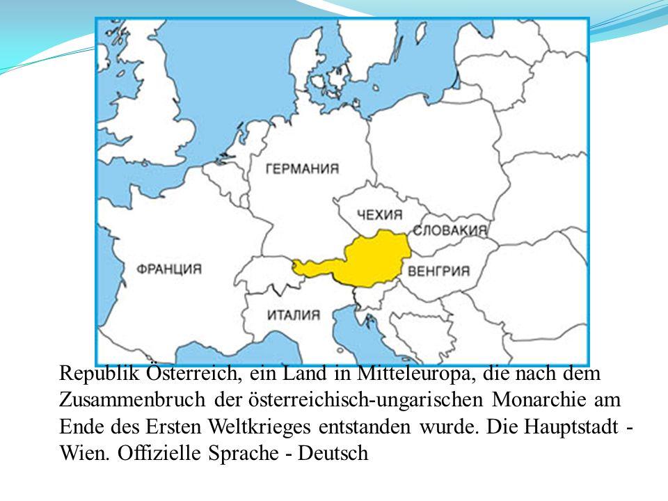 Republik Österreich, ein Land in Mitteleuropa, die nach dem Zusammenbruch der österreichisch-ungarischen Monarchie am Ende des Ersten Weltkrieges ents