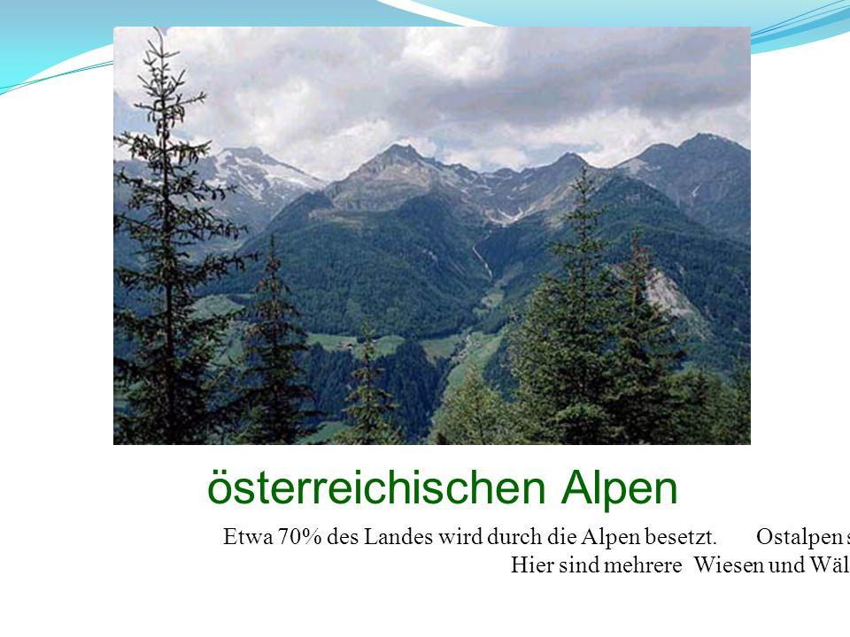 österreichischen Alpen Etwa 70% des Landes wird durch die Alpen besetzt. Ostalpen sind hoch, schön und zugänglich. Hier sind mehrere Wiesen und Wälder
