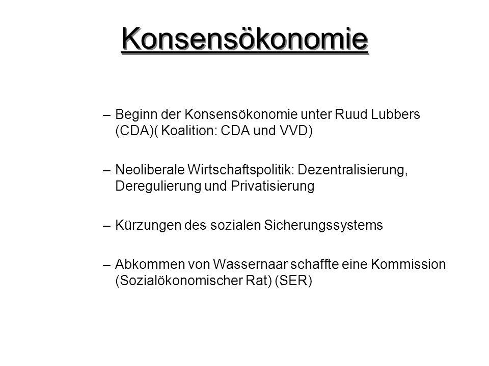 –Beginn der Konsensökonomie unter Ruud Lubbers (CDA)( Koalition: CDA und VVD) –Neoliberale Wirtschaftspolitik: Dezentralisierung, Deregulierung und Privatisierung –Kürzungen des sozialen Sicherungssystems –Abkommen von Wassernaar schaffte eine Kommission (Sozialökonomischer Rat) (SER)