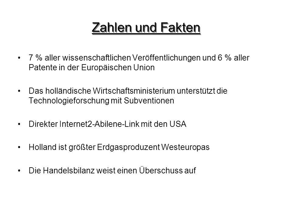 Zahlen und Fakten 7 % aller wissenschaftlichen Veröffentlichungen und 6 % aller Patente in der Europäischen Union Das holländische Wirtschaftsminister