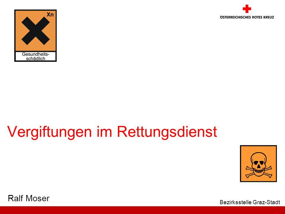 32 Bezirksstelle Graz-Stadt Ausgewählte Vergiftungen Reizgase / Rauchgase: Gift: Hitze und Rauchinhaltsstoffe ( Schädigung der Lungenbläschen ) ein toxisches Lungenödem kann entstehen Selbstschutz !!!