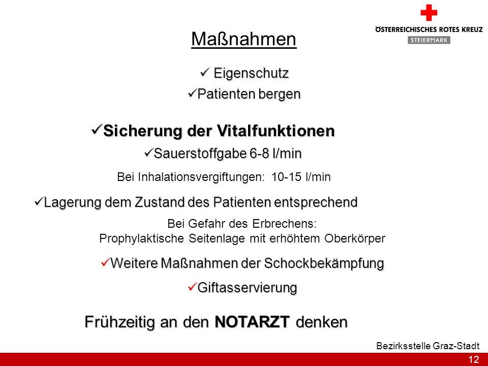 12 Bezirksstelle Graz-Stadt Maßnahmen Sicherung der Vitalfunktionen Sicherung der Vitalfunktionen Sauerstoffgabe 6-8 l/min Sauerstoffgabe 6-8 l/min Be