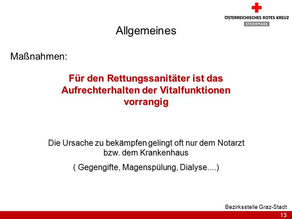 13 Bezirksstelle Graz-Stadt Allgemeines Maßnahmen: Für den Rettungssanitäter ist das Aufrechterhalten der Vitalfunktionen vorrangig Die Ursache zu bek