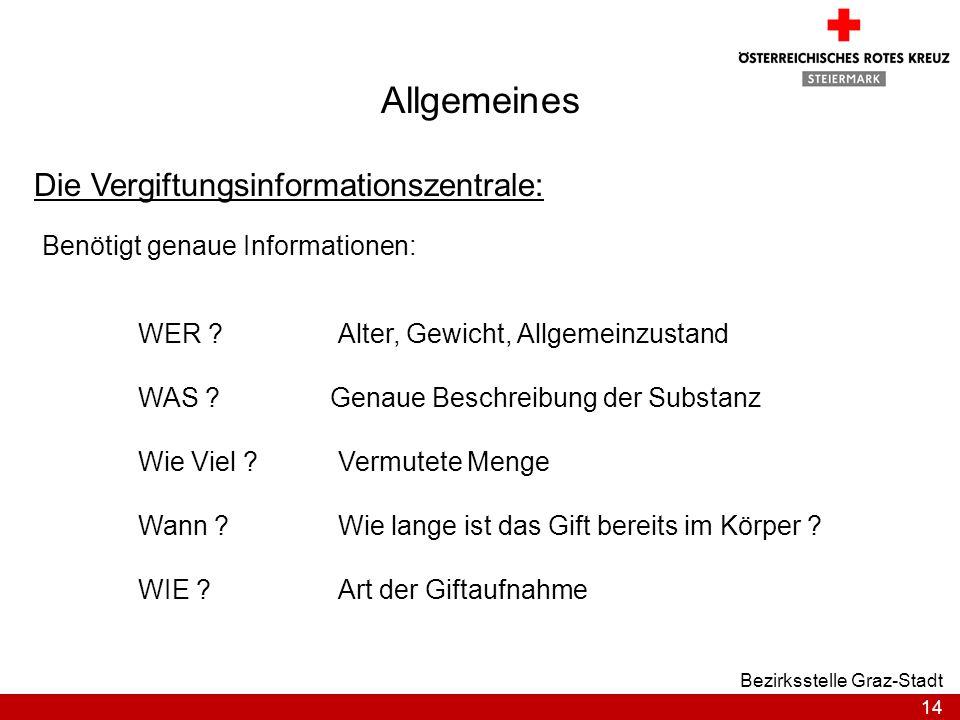 14 Bezirksstelle Graz-Stadt Allgemeines Die Vergiftungsinformationszentrale: Benötigt genaue Informationen: WAS ? WIE ? Wie Viel ? Wann ? WER ?Alter,