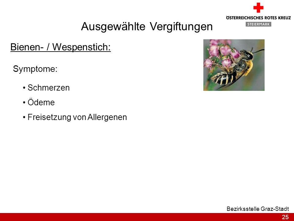 25 Bezirksstelle Graz-Stadt Ausgewählte Vergiftungen Bienen- / Wespenstich: Symptome: Schmerzen Ödeme Freisetzung von Allergenen