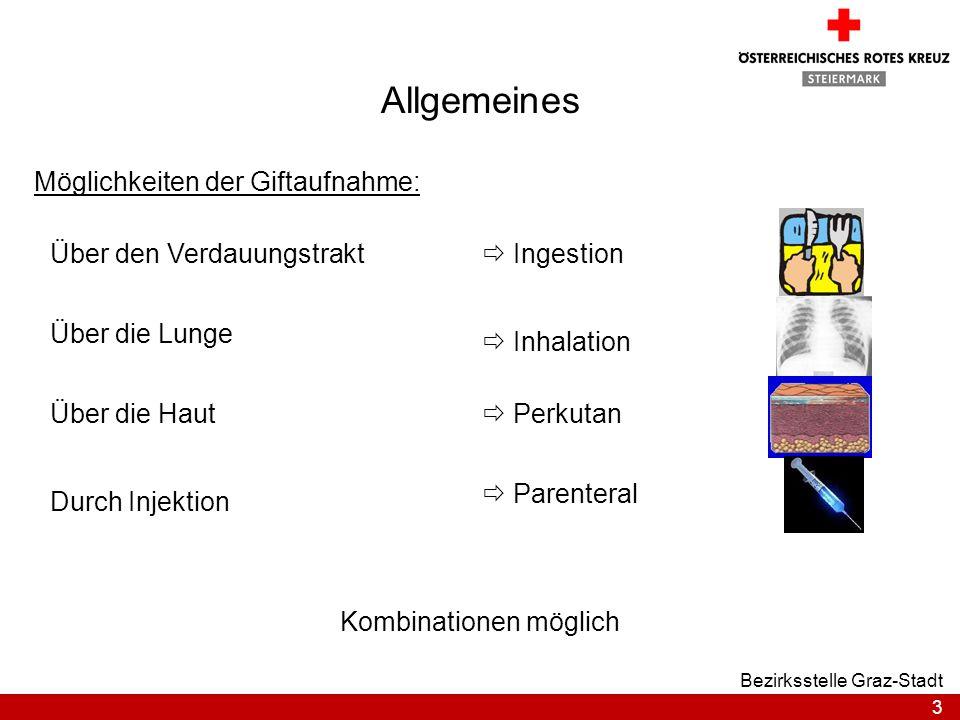 3 Bezirksstelle Graz-Stadt Allgemeines Möglichkeiten der Giftaufnahme: IngestionÜber den Verdauungstrakt Inhalation Über die Lunge Über die Haut Paren