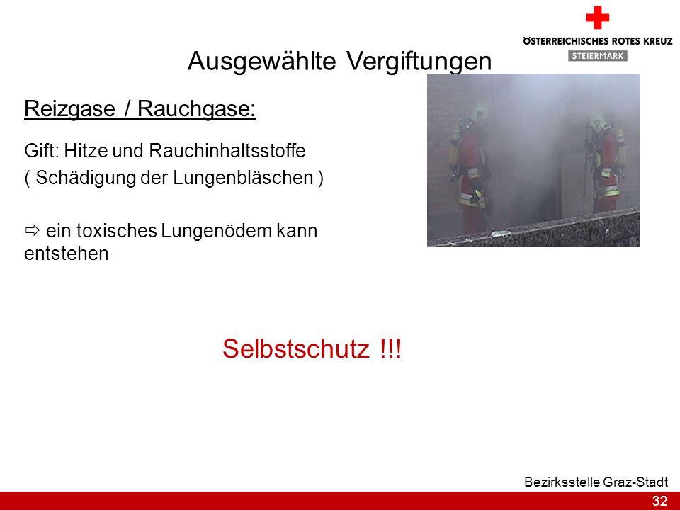 32 Bezirksstelle Graz-Stadt Ausgewählte Vergiftungen Reizgase / Rauchgase: Gift: Hitze und Rauchinhaltsstoffe ( Schädigung der Lungenbläschen ) ein to