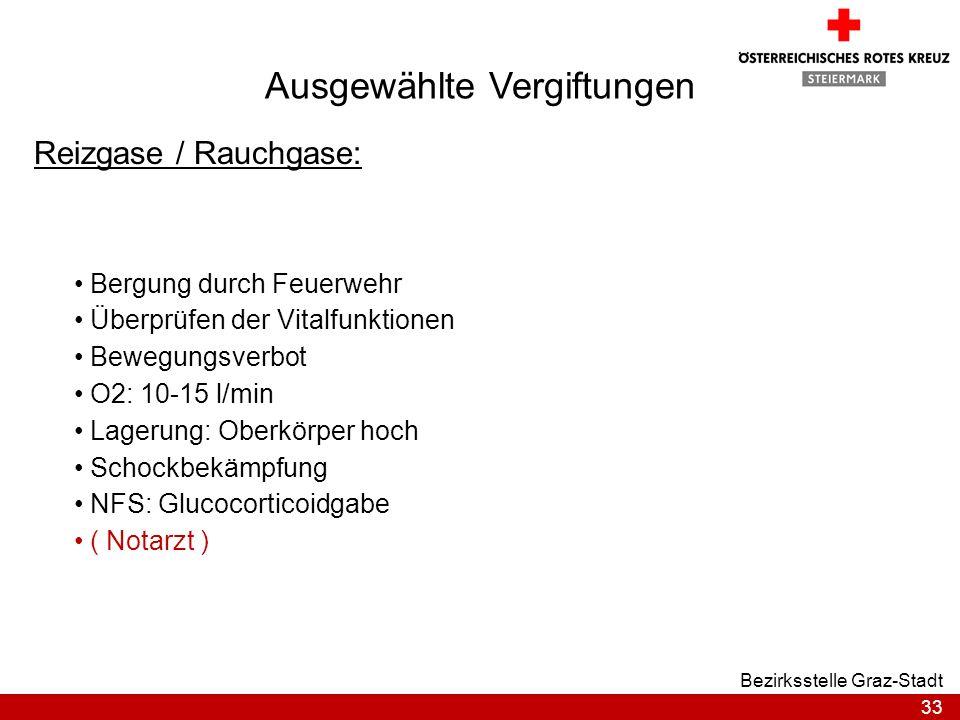 33 Bezirksstelle Graz-Stadt Ausgewählte Vergiftungen Reizgase / Rauchgase: Bergung durch Feuerwehr Überprüfen der Vitalfunktionen Bewegungsverbot O2: