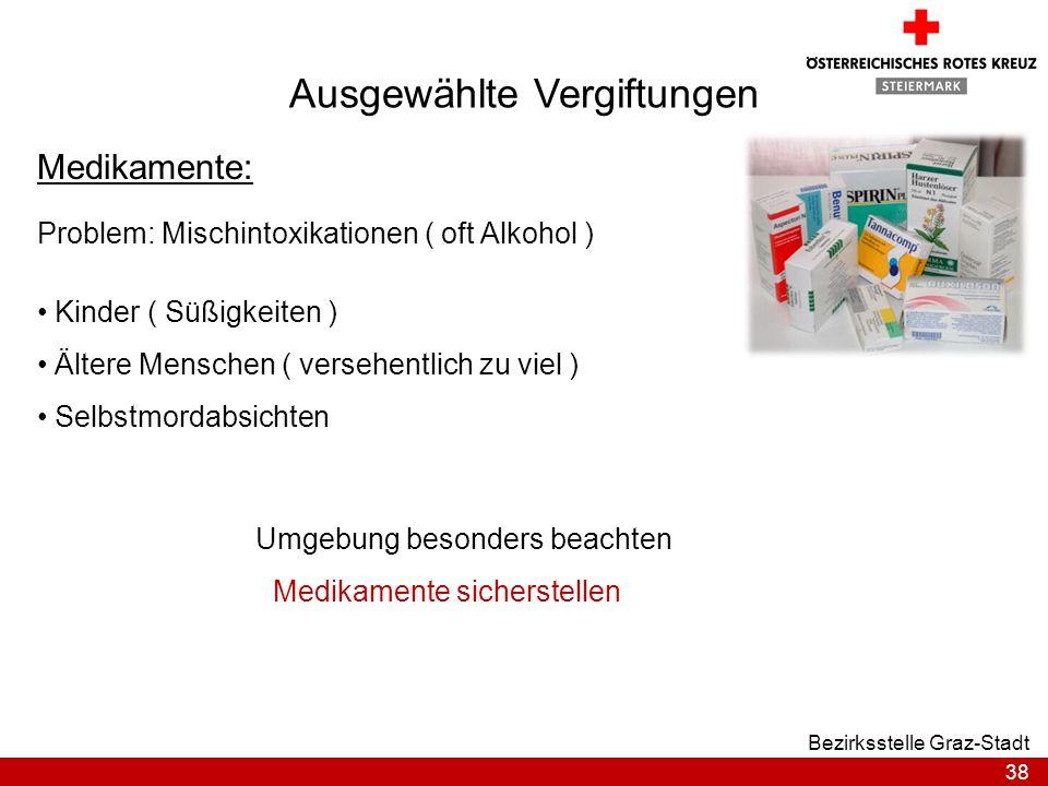38 Bezirksstelle Graz-Stadt Ausgewählte Vergiftungen Medikamente: Problem: Mischintoxikationen ( oft Alkohol ) Kinder ( Süßigkeiten ) Ältere Menschen