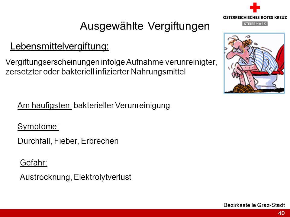 40 Bezirksstelle Graz-Stadt Ausgewählte Vergiftungen Lebensmittelvergiftung: Vergiftungserscheinungen infolge Aufnahme verunreinigter, zersetzter oder