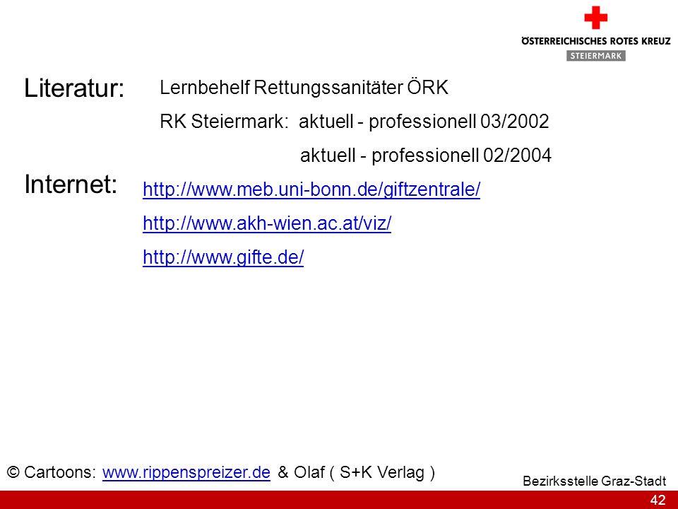 42 Bezirksstelle Graz-Stadt Literatur: Lernbehelf Rettungssanitäter ÖRK RK Steiermark: aktuell - professionell 03/2002 aktuell - professionell 02/2004