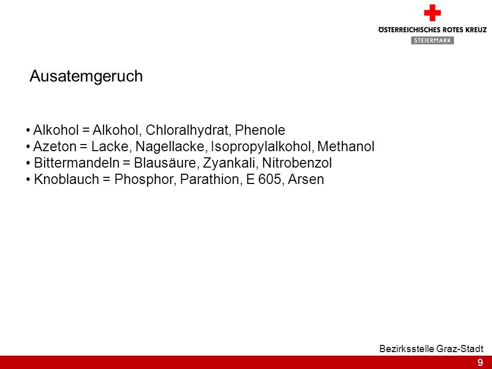 9 Bezirksstelle Graz-Stadt Alkohol = Alkohol, Chloralhydrat, Phenole Azeton = Lacke, Nagellacke, Isopropylalkohol, Methanol Bittermandeln = Blausäure,