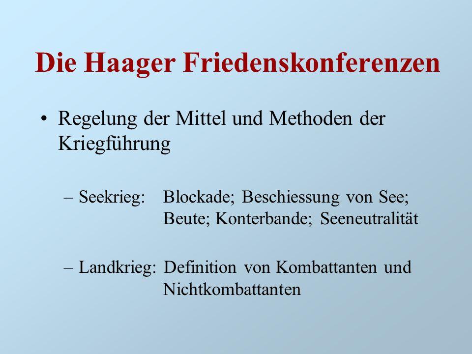 Die Haager Friedenskonferenzen Regelung der Mittel und Methoden der Kriegführung –Seekrieg: Blockade; Beschiessung von See; Beute; Konterbande; Seeneu