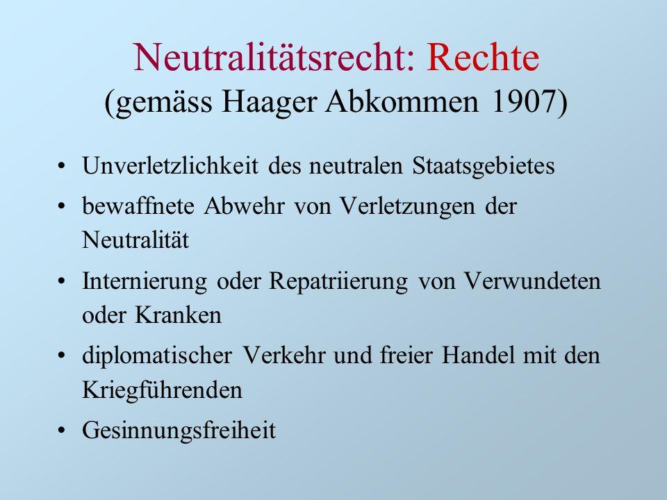 Unverletzlichkeit des neutralen Staatsgebietes bewaffnete Abwehr von Verletzungen der Neutralität Internierung oder Repatriierung von Verwundeten oder