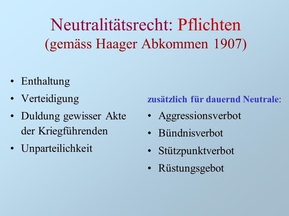 Neutralitätsrecht: Pflichten (gemäss Haager Abkommen 1907) Enthaltung Verteidigung Duldung gewisser Akte der Kriegführenden Unparteilichkeit zusätzlic