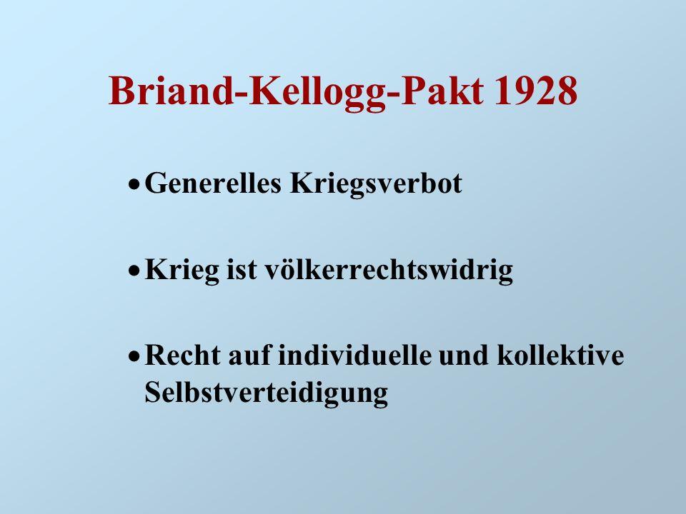 Briand-Kellogg-Pakt 1928 Generelles Kriegsverbot Krieg ist völkerrechtswidrig Recht auf individuelle und kollektive Selbstverteidigung