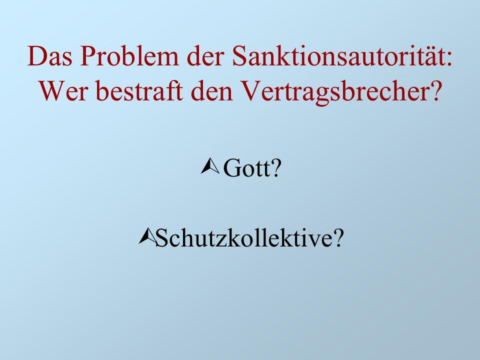 Das Problem der Sanktionsautorität: Wer bestraft den Vertragsbrecher? Ù Gott? ÙSchutzkollektive?