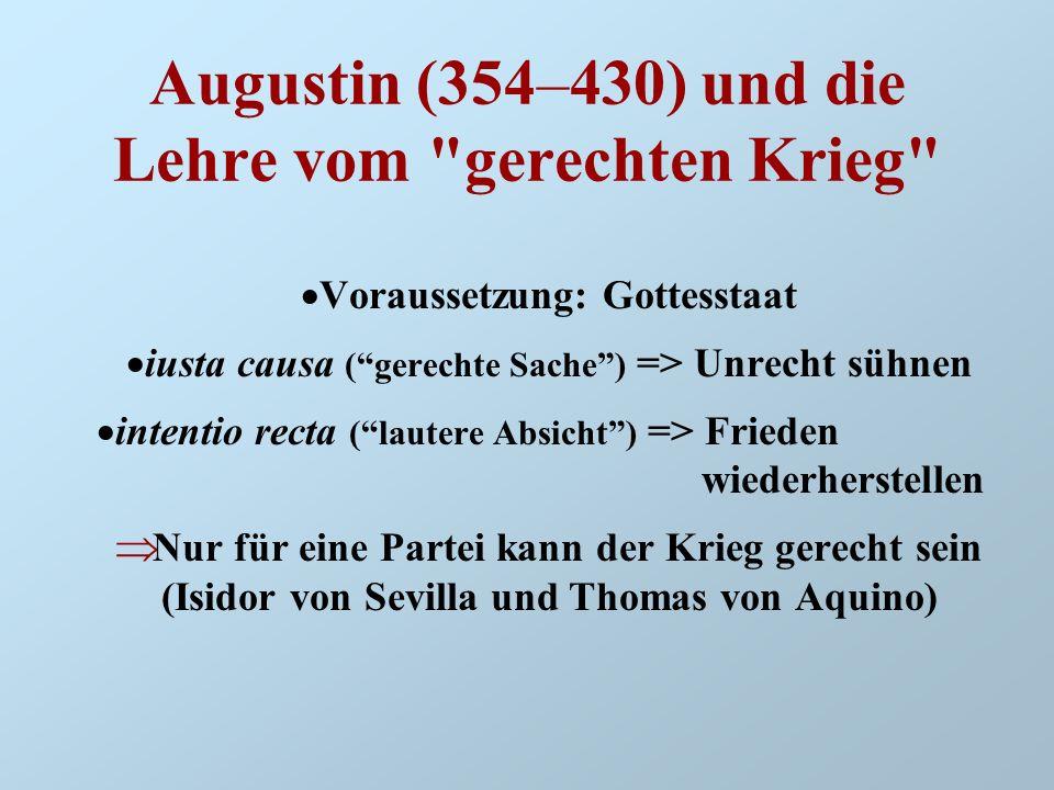 Francisco de Vitoria (1483–1546) Frage nach der Objektivierbarkeit des Kriegsgrundes und des Rechtes auf Kriegführen Unterscheidung von objektivem Unrecht und subjektivem Verschulden