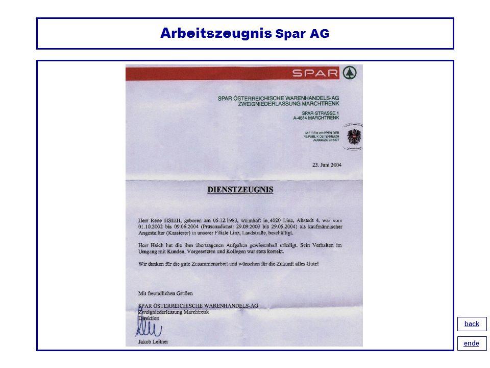 Arbeitszeugnis Spar AG back ende