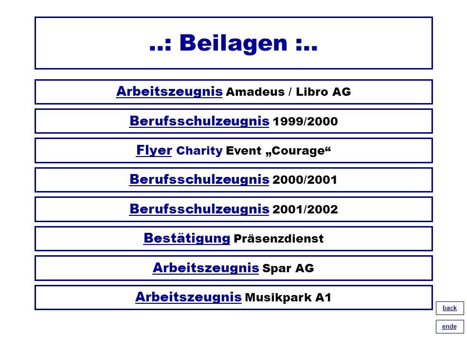 ..: Beilagen :.. ArbeitszeugnisArbeitszeugnis Amadeus / Libro AG BerufsschulzeugnisBerufsschulzeugnis 2000/2001 BerufsschulzeugnisBerufsschulzeugnis 1