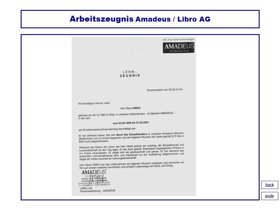 Arbeitszeugnis Amadeus / Libro AG back ende