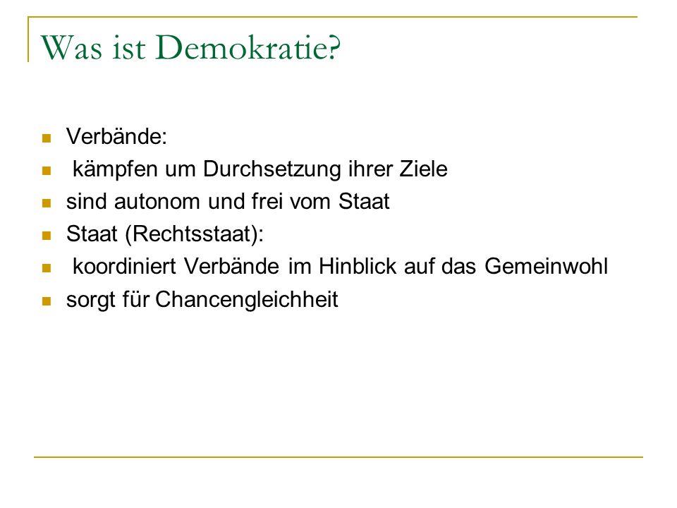 Was ist Demokratie? Verbände: kämpfen um Durchsetzung ihrer Ziele sind autonom und frei vom Staat Staat (Rechtsstaat): koordiniert Verbände im Hinblic