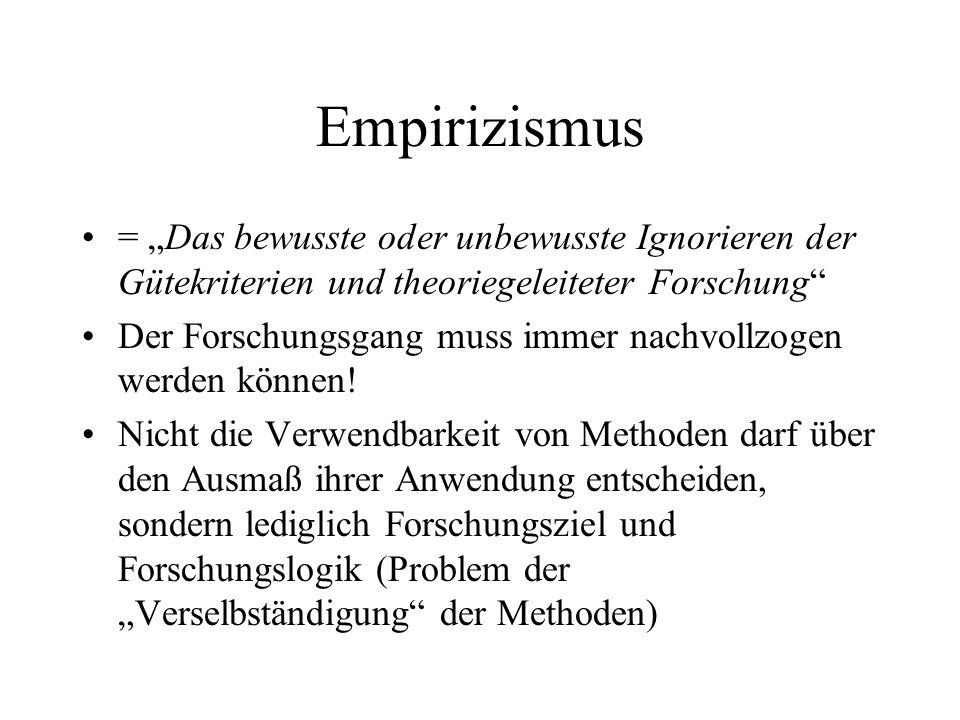 Empirizismus = Das bewusste oder unbewusste Ignorieren der Gütekriterien und theoriegeleiteter Forschung Der Forschungsgang muss immer nachvollzogen w