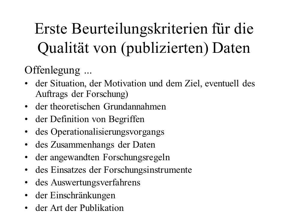 Erste Beurteilungskriterien für die Qualität von (publizierten) Daten Offenlegung... der Situation, der Motivation und dem Ziel, eventuell des Auftrag