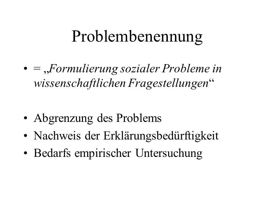 Problembenennung = Formulierung sozialer Probleme in wissenschaftlichen Fragestellungen Abgrenzung des Problems Nachweis der Erklärungsbedürftigkeit B