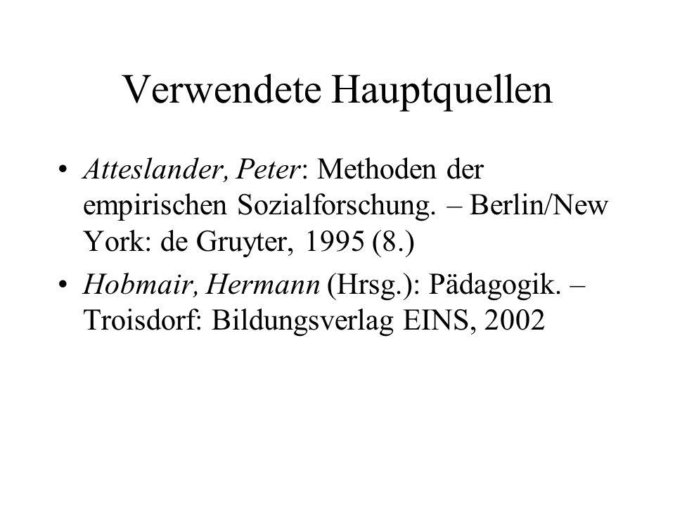 Verwendete Hauptquellen Atteslander, Peter: Methoden der empirischen Sozialforschung. – Berlin/New York: de Gruyter, 1995 (8.) Hobmair, Hermann (Hrsg.