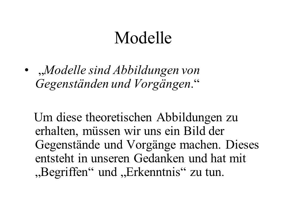 Modelle Modelle sind Abbildungen von Gegenständen und Vorgängen. Um diese theoretischen Abbildungen zu erhalten, müssen wir uns ein Bild der Gegenstän