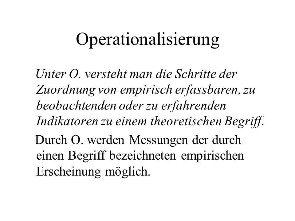 Operationalisierung Unter O. versteht man die Schritte der Zuordnung von empirisch erfassbaren, zu beobachtenden oder zu erfahrenden Indikatoren zu ei