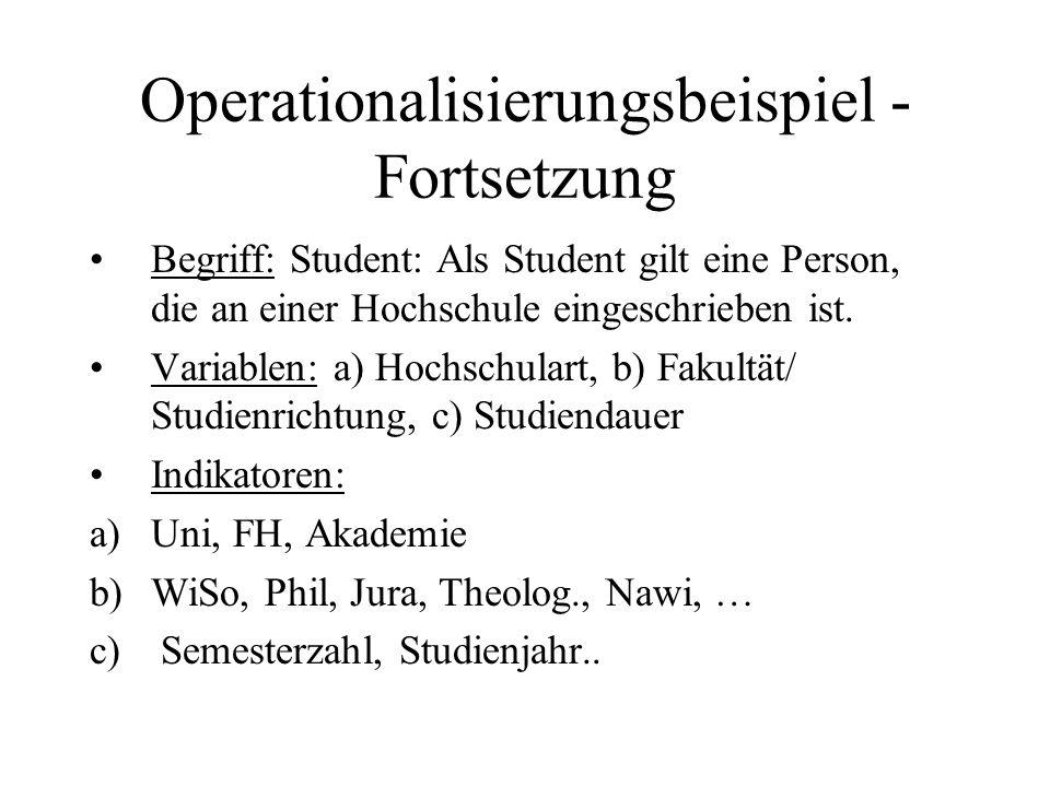 Operationalisierungsbeispiel - Fortsetzung Begriff: Student: Als Student gilt eine Person, die an einer Hochschule eingeschrieben ist. Variablen: a) H