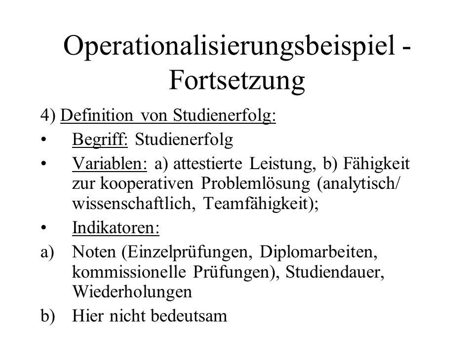 Operationalisierungsbeispiel - Fortsetzung 4) Definition von Studienerfolg: Begriff: Studienerfolg Variablen: a) attestierte Leistung, b) Fähigkeit zu