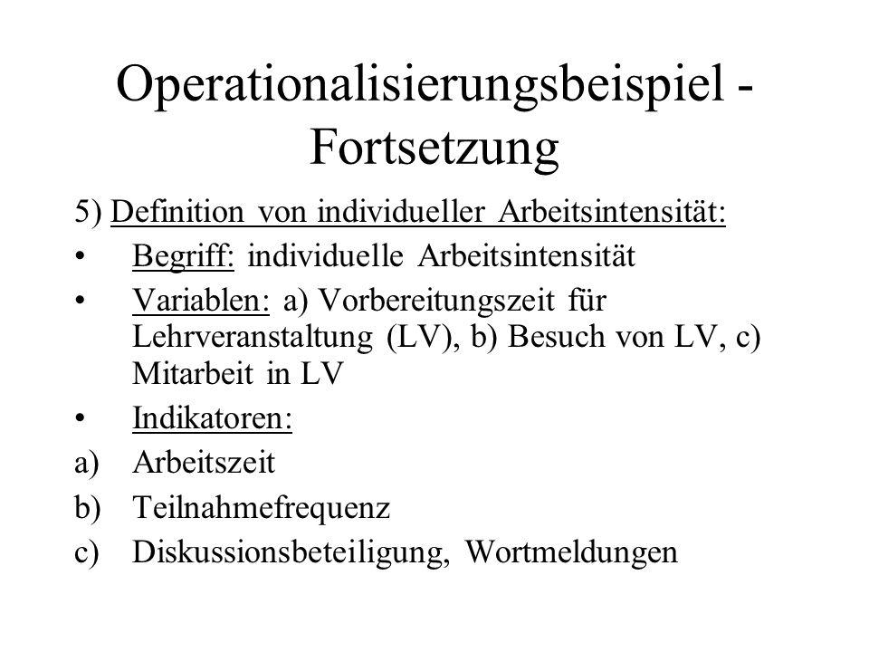 Operationalisierungsbeispiel - Fortsetzung 5) Definition von individueller Arbeitsintensität: Begriff: individuelle Arbeitsintensität Variablen: a) Vo