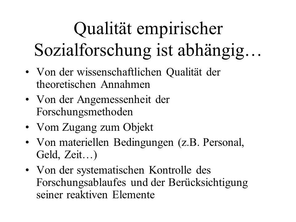 Qualität empirischer Sozialforschung ist abhängig… Von der wissenschaftlichen Qualität der theoretischen Annahmen Von der Angemessenheit der Forschung