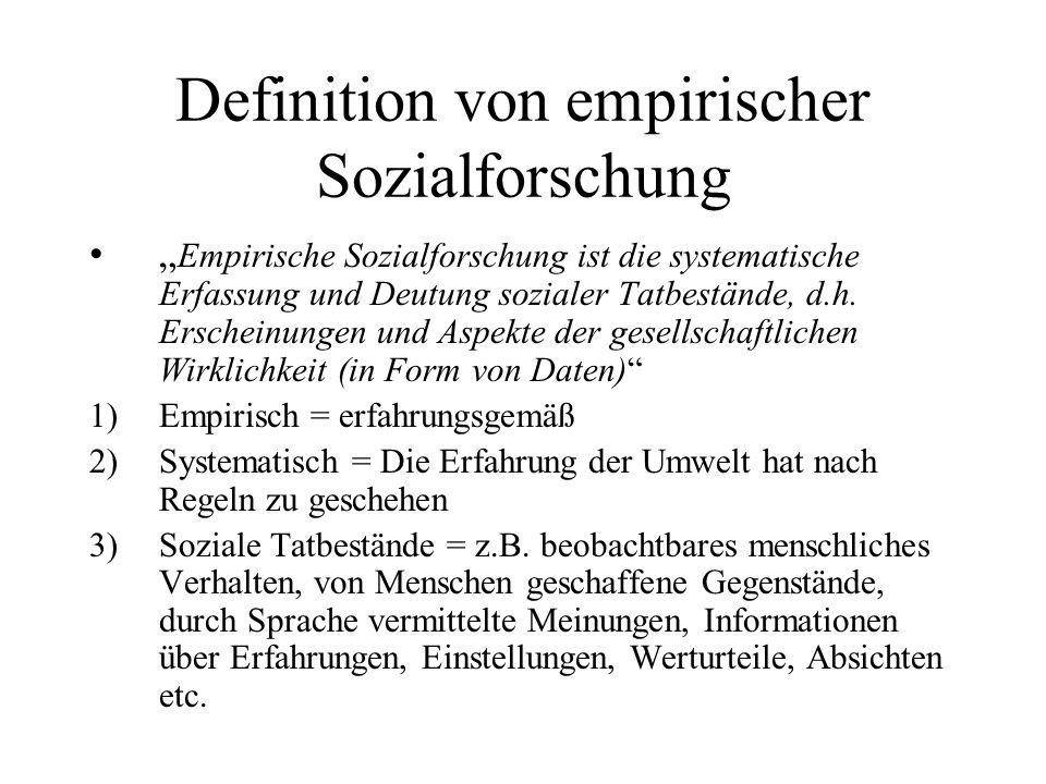 Definition von empirischer Sozialforschung Empirische Sozialforschung ist die systematische Erfassung und Deutung sozialer Tatbestände, d.h. Erscheinu