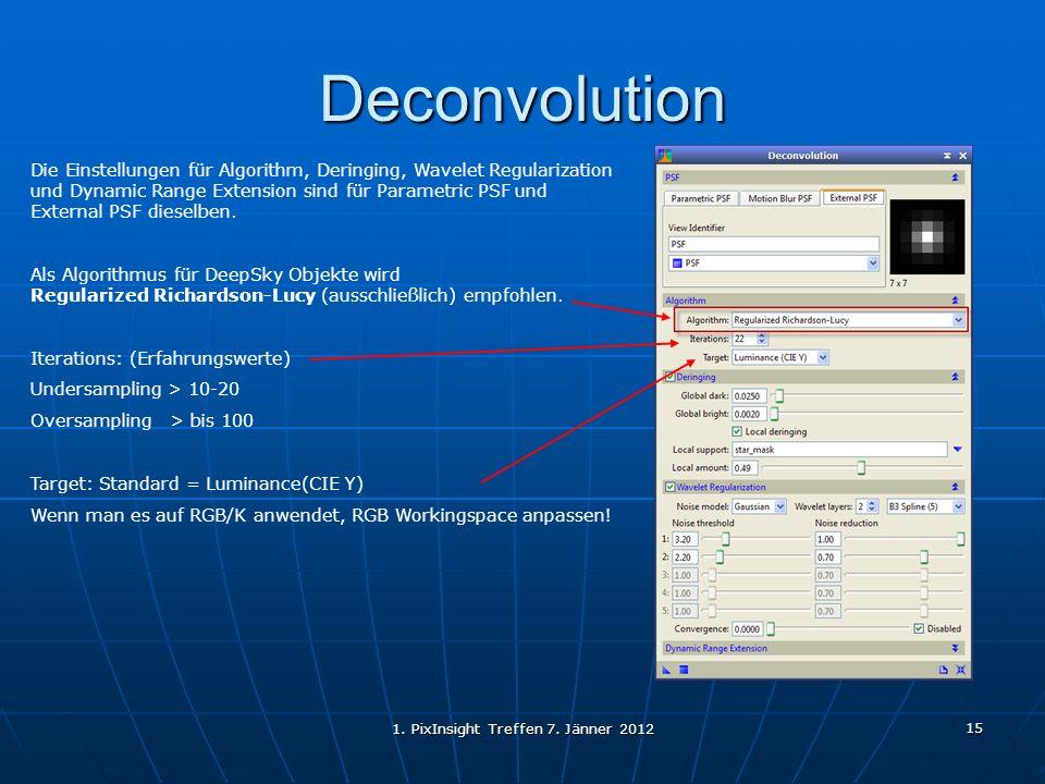 1. PixInsight Treffen 7. Jänner 2012 15 Deconvolution Die Einstellungen für Algorithm, Deringing, Wavelet Regularization und Dynamic Range Extension s