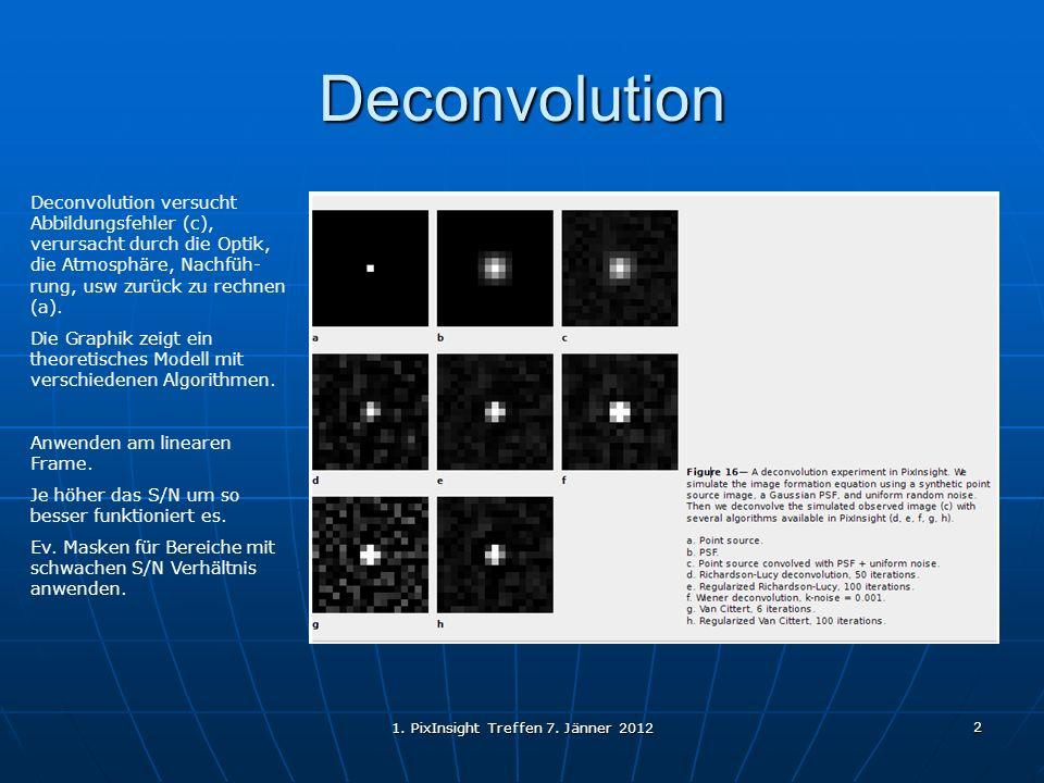 1. PixInsight Treffen 7. Jänner 2012 2 Deconvolution Deconvolution versucht Abbildungsfehler (c), verursacht durch die Optik, die Atmosphäre, Nachfüh-